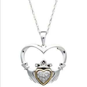 Jewelry - Sterling Silver &14K gold Irish Claddagh necklace